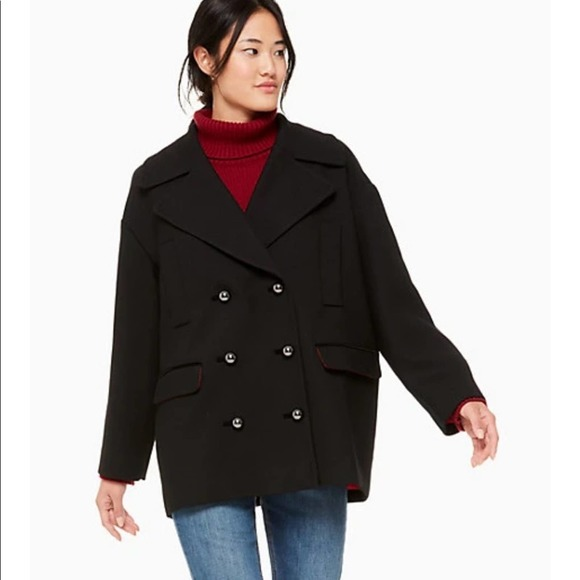 Kate Spade Broome St Modern Wool Peacoat Black Lg